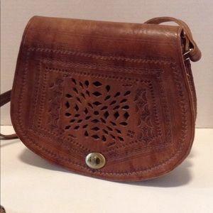 Embossed Brown Leather Crossbody Handbag
